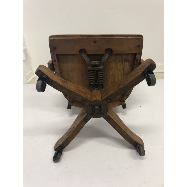 Vintage Industrial Wood Swivel Banker Chair For Sale - Image 11 of 13