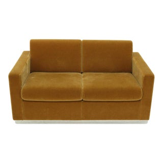 Mohair Loveseat on High Polish Stainless Steel Base Ward Bennet for Brickel For Sale