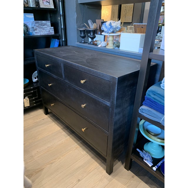 Beautiful and sleek - contemporary Faux Linen Dresser in deep Black. Incomparable quality and classic lines, practical,...