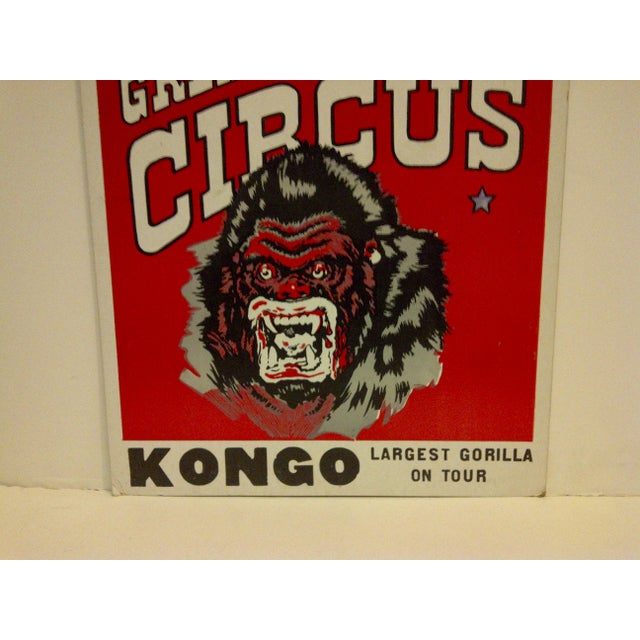 """1960 Vintage Circus Poster """"Kongo - Largest Gorilla on Tour"""" For Sale - Image 4 of 5"""