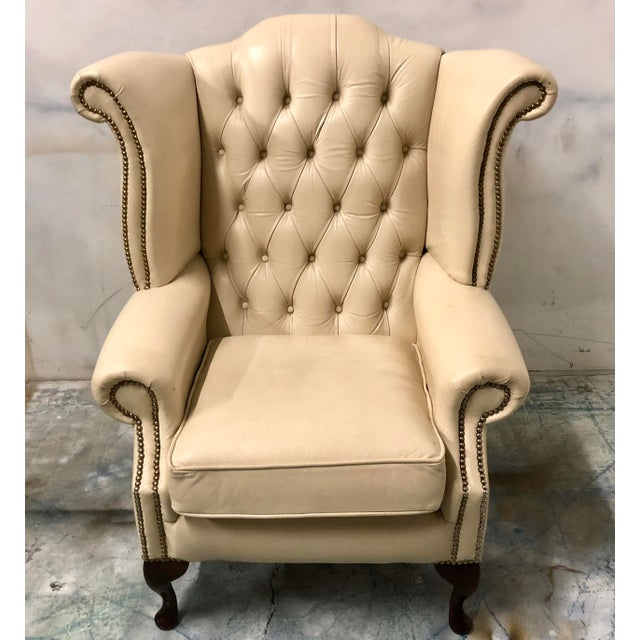 English Leather Wing Chair For Sale - Image 4 of 6