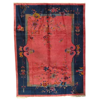 Early 20th Century Antique Chinese Art Deco Area Rug - 8′7″ × 11′7″ For Sale