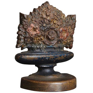 Antique Bradley & Hubbard Cast Iron Polychrome Flower Basket Doorstop For Sale