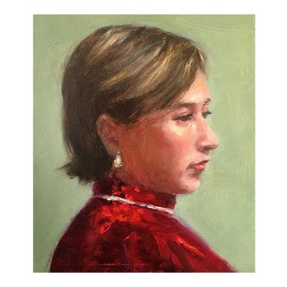 Original Oil Painting of Woman in Red For Sale