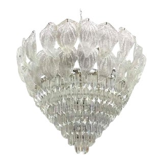 Murano Glass Leaf and Prism Chandelier