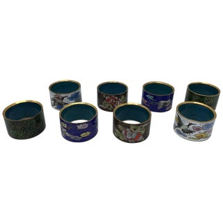 1970s Cloisonné Napkin Rings, Set of Eight For Sale