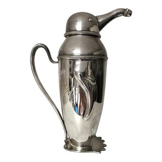 Large, Art Deco Silver Plated Penguin Cocktail Shaker For Sale