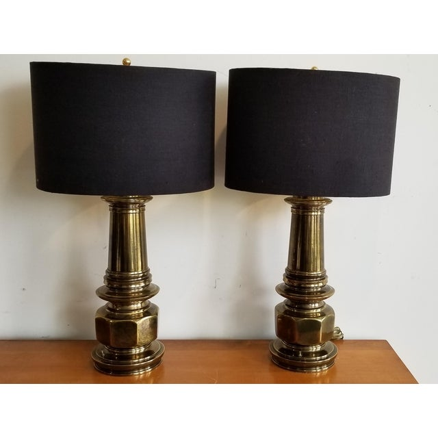 1960's Vintage Brass Lamp With Black Linen Shade - a Pair For Sale - Image 4 of 4