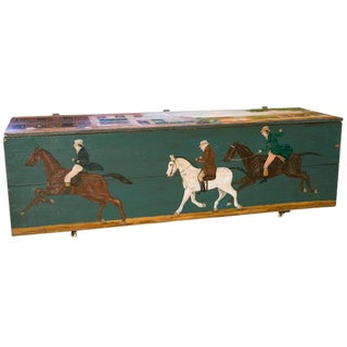 Blanket Chest with Equestrian Scene Hand-Painted by American Folk Artist Lew Hudnall For Sale