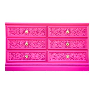 1970s Hollywood Regency Hot Pink 6 Drawer Dresser For Sale