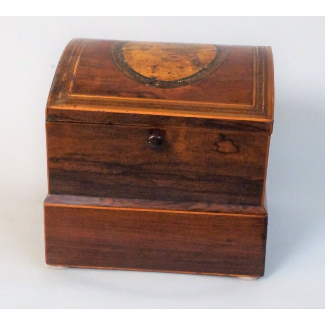 Wood Circa 1820 English Georgian Style Mahogany and Satinwood Casket For Sale - Image 7 of 12