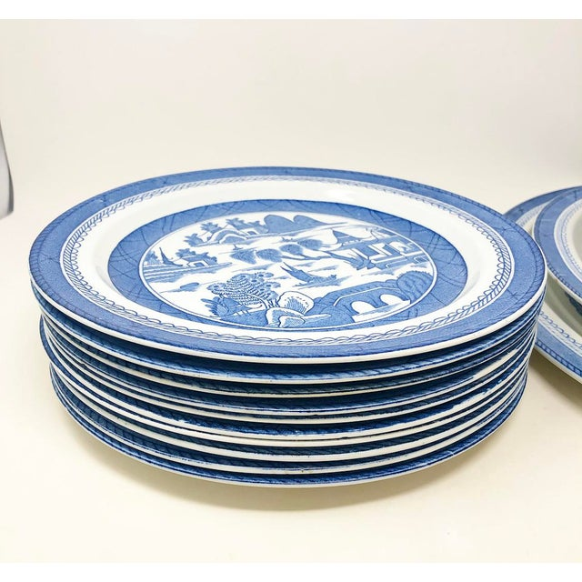 Antique Blue & White Canton Pattern China Collection - Set of 14 For Sale - Image 10 of 13
