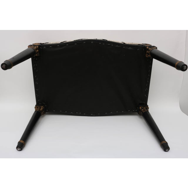 Black Louis XVI Bench in Black and Gold With Bengal Tiger Motif Fabric For Sale - Image 8 of 9