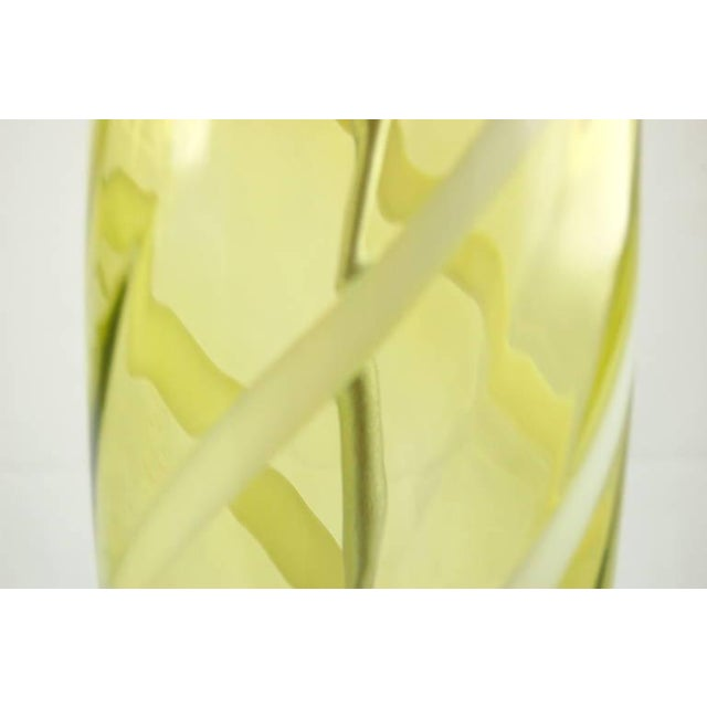 Blown Glass Vintage Venetian Glass Table Lamps Yellow Green For Sale - Image 7 of 10