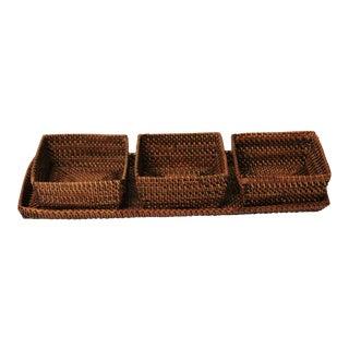 Nito Woven Rattan Wicker Trays - 4 Pc. Set