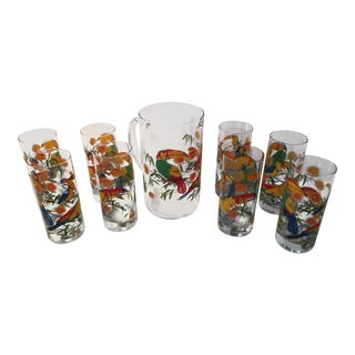 1970s Mid-Century Modern Cerve Tropical Bird Pitcher and Glasses - 9 Pieces