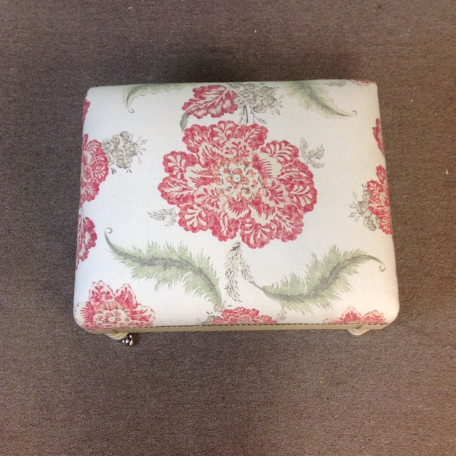 Lillian August Tufted Upholstered Floral Ottoman For Sale In West Palm - Image 6 of 7