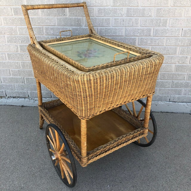 Boho Chic Early American Antique Wicker Tea Trolley/Bar Cart For Sale - Image 3 of 13