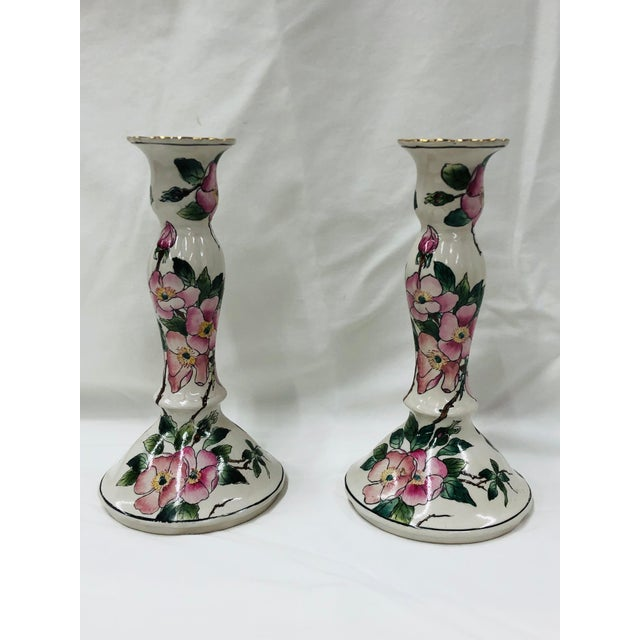 1980s 1980s Andrea by Sadek Pink Dogwood Pattern Candlesticks For Sale - Image 5 of 5