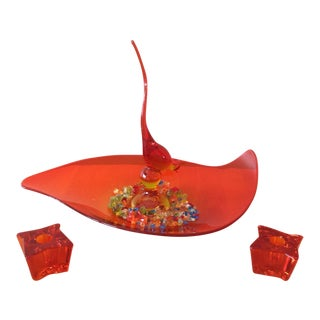 1960s Red Glass Centerpiece