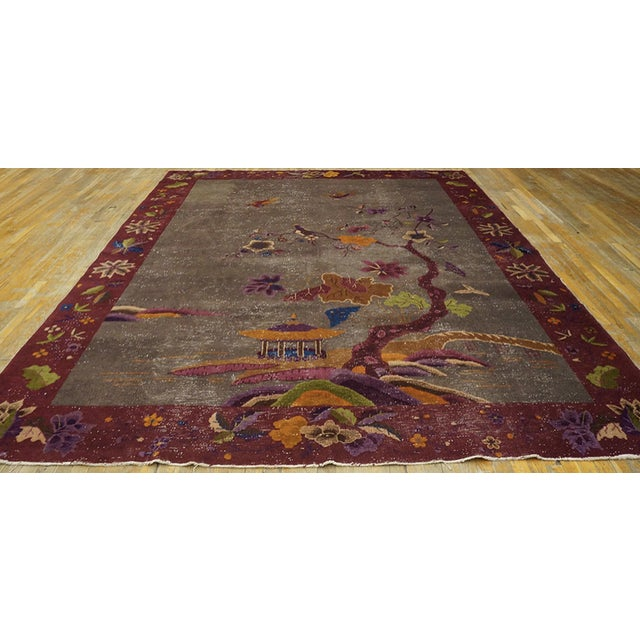 """1920s Antique Chinese Art Deco Rug 8'10""""x11'6"""" For Sale - Image 5 of 13"""