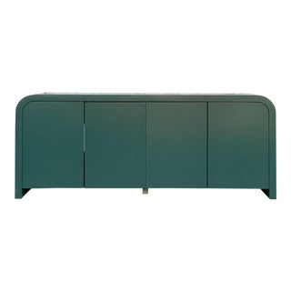 1970's Mid-Century Modern Green Lacquered Credenza/Media Cabinet For Sale