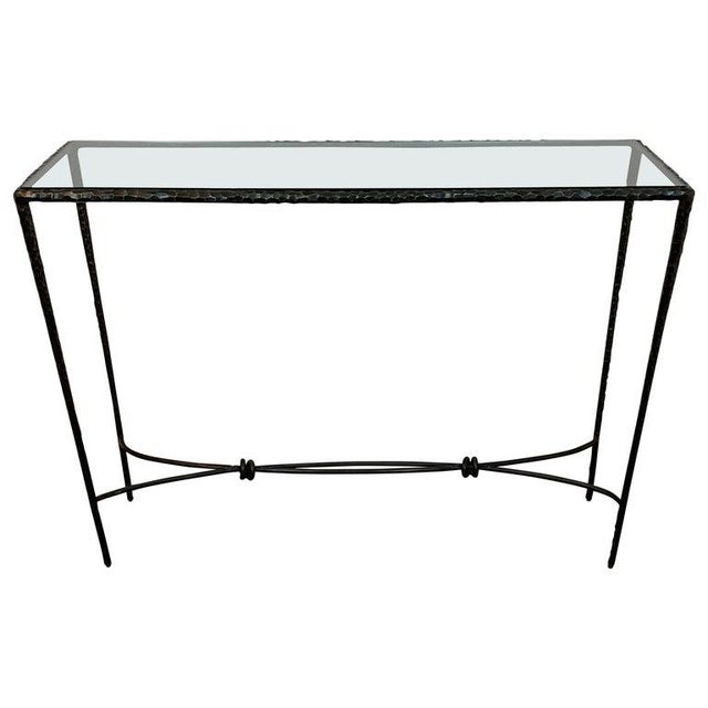 French Modern Cast Bronze and Glass Console Table For Sale - Image 10 of 10