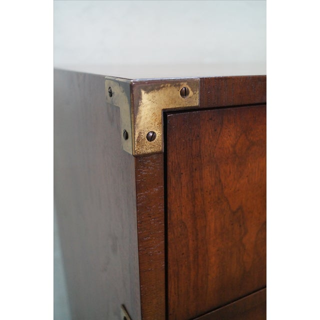 Vintage Lane Campaign Style Walnut Tall Chest - Image 6 of 10