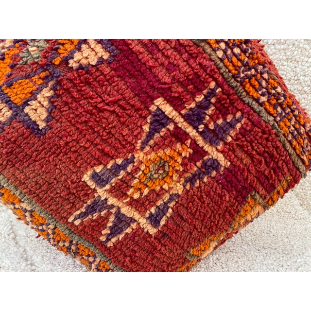 Moroccan Red Unstuffed Pouf For Sale - Image 6 of 13