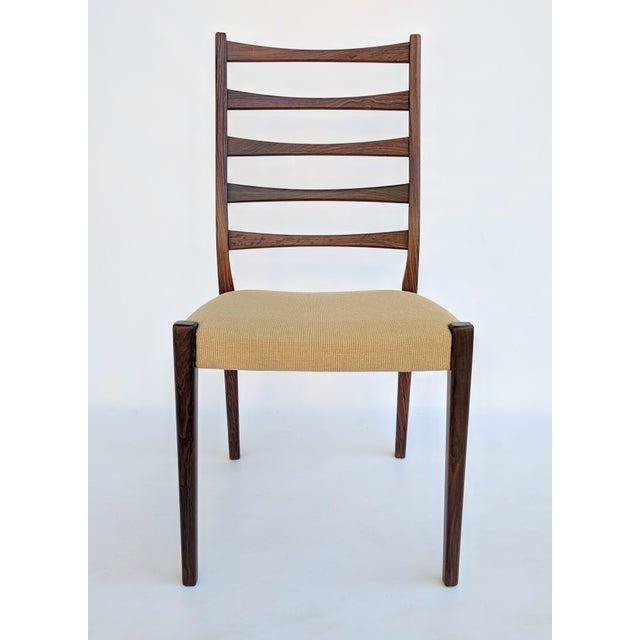 Danish Modern 1960s Danish Modern Svegards Markaryd Rosewood Ladder Back Dining Chairs - Set of 4 For Sale - Image 3 of 13