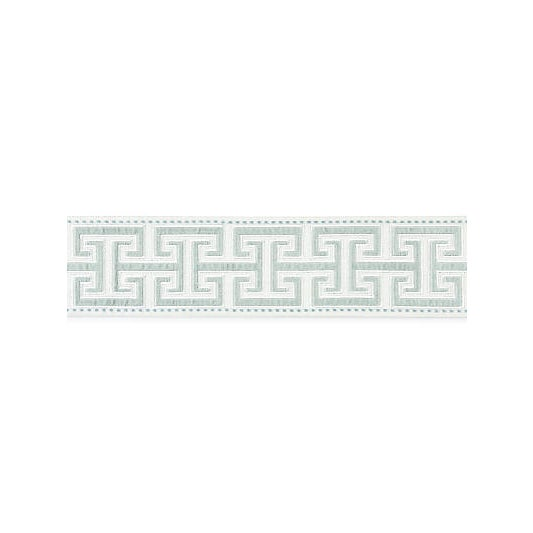 This elegant tape features a classic interlocking Greek key design that is translated in plush velvet applique, bordered...