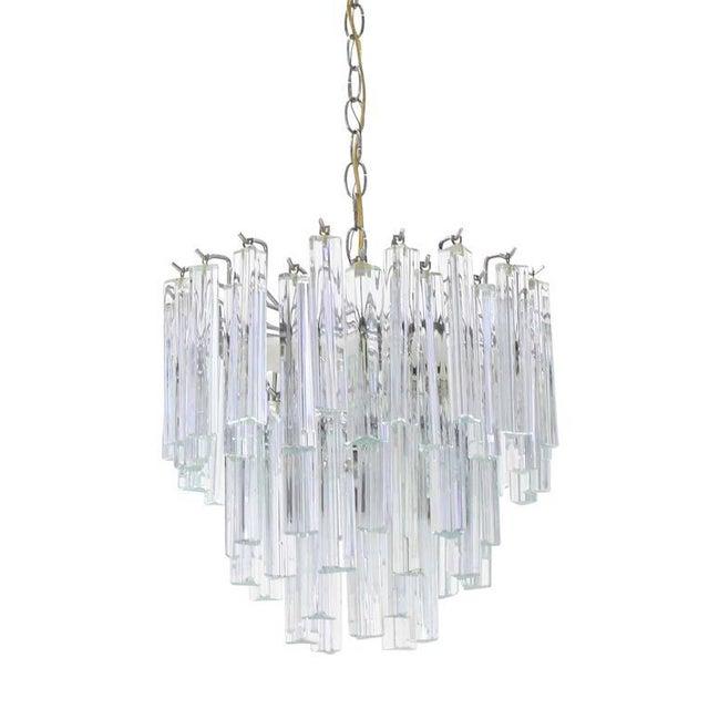 Crystal Medium Size Venini Glass Prisms Camer Light Fixture For Sale - Image 7 of 9