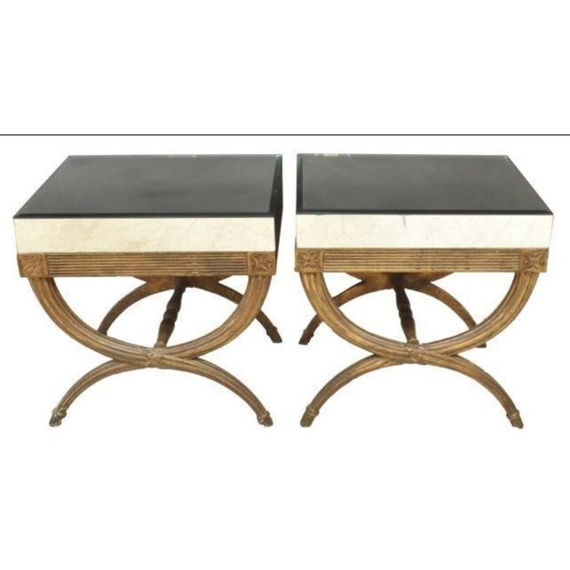 Gold Continental Directoire Curule Mirrored Side Tables - a Pair For Sale - Image 8 of 9