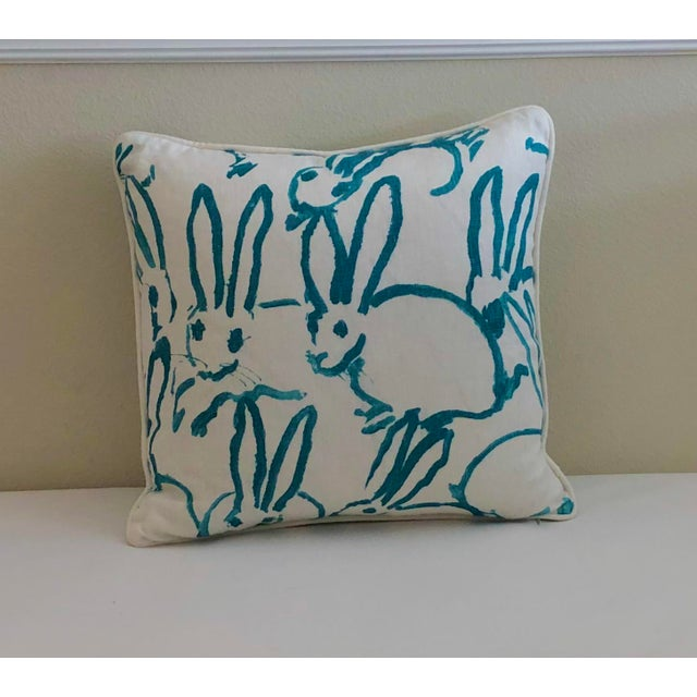 Lee Jofa Bunny Hutch Print in Turquoise Pillow Cover With Piping, Double Sided For Sale In Tampa - Image 6 of 6