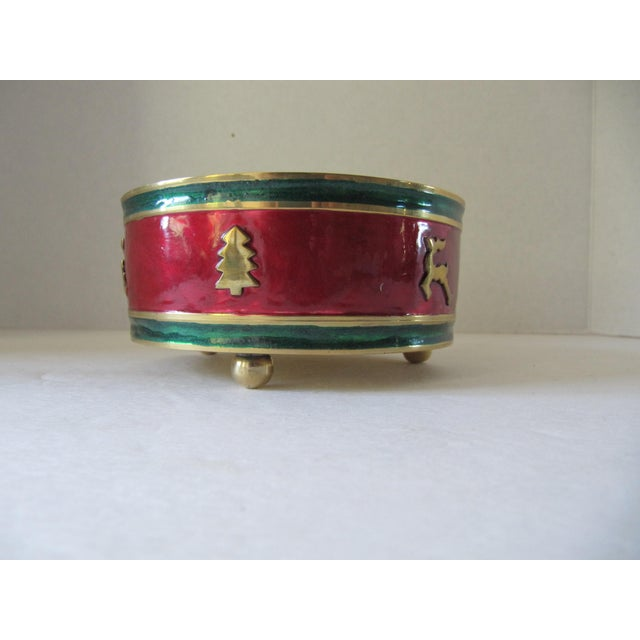 English Traditional Red & Green Enamel Over Brass Christmas Holiday Wine Coaster For Sale - Image 3 of 6