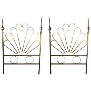 Pair of Hollywood Regency Gilt Twin Headboards For Sale