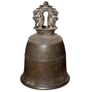 Rare 19th Century Burmese Temple Bronze Bell with Finely Cast Guardian Lions For Sale
