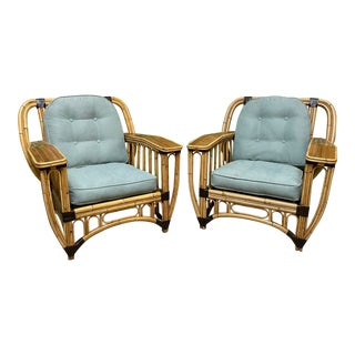 Split Reed Rattan Large Club Chairs, a Pair For Sale
