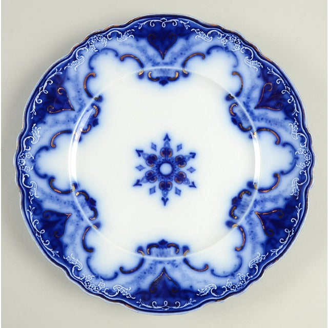 Blue Vintage Mixed Flow Blue Dinner Plates - Set of 8 For Sale - Image 8 of 10