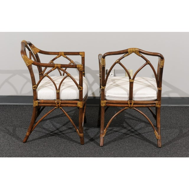 Chic Restored Set of 8 Modern Arm Dining Chairs by McGuire, circa 1975 For Sale - Image 9 of 13