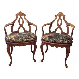 1940's Italian Biedermeier Hand Carved Fruitwood Armchairs - A Pair