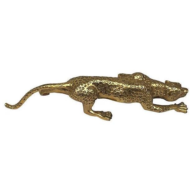 Mid-Century Brass Jaguar Statue - Image 3 of 5