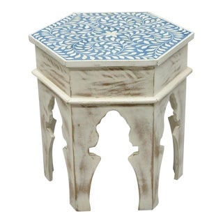 Moroccan Abalone Inlaid Hexagonal White Distress Painted Side Table For Sale