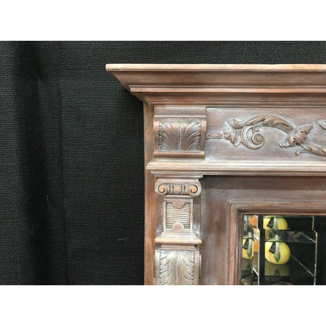 19th Century Antique Neoclassical Style French Limed Wood Beveled Mirror For Sale - Image 4 of 7