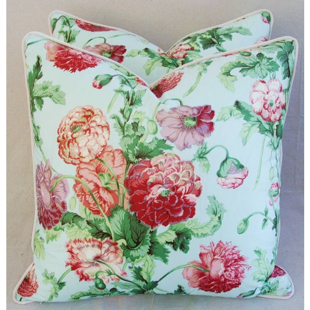 """Pair of large custom-made pillows in vintage/never used 100% cotton hand-printed Brunschwig & Fils fabric, called """"Upark..."""