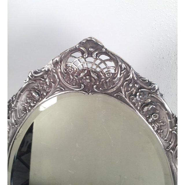 1900 - 1909 Antique Tiffany Repousse Sterling Silver Standing Vanity Mirror For Sale - Image 5 of 13