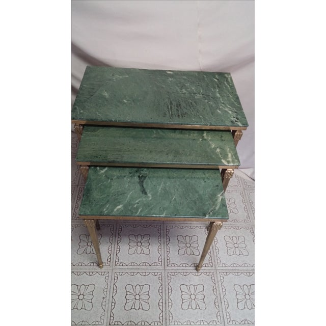 Set of 3 French Louis XVI style bronze/brass frame and leg with marble top nesting tables. All tops are inset green marble...