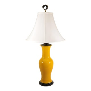 Japanese Yellow Glazed Pottery Table Lamp For Sale