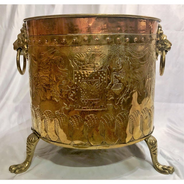 "Antique English Rare Design ""Armorial"" Brass and Copper Log Bin, Circa 1820-1840. (Shown Here as a Jardiniere Also) For Sale - Image 4 of 4"