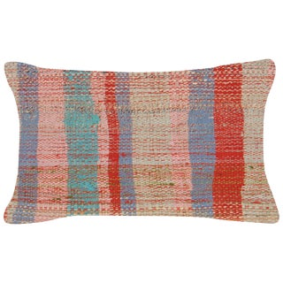 "Nalbandian - Turkish Rag Rug Lumbar Pillow - 12"" X 20"" For Sale"